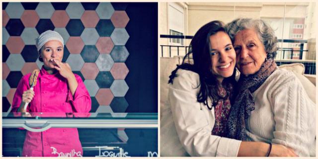 Stephanie na Addolcire e com a avó, de quem herdou receitas e o gosto pelo doce (fotos: divulgação)