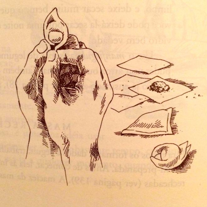 Instruções de como dobrar capelete do livro Fundamentos da Cozinha Italiana Clássica