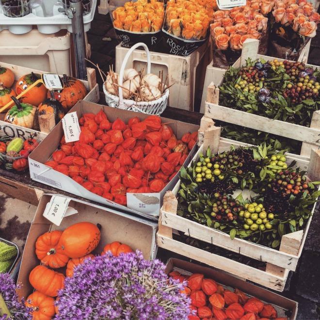 O mercado onde acontece a feira de Natal de Nuremberg