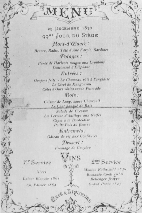 Reprodução de menu do Voisin