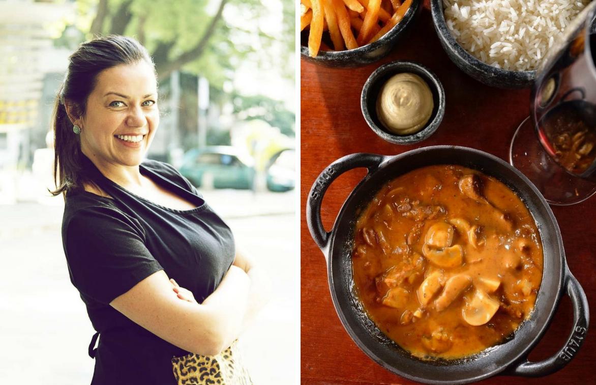 Janaina Rueda e o estrogonofe do Bar da Dona Onça (reprodução: Instagram)