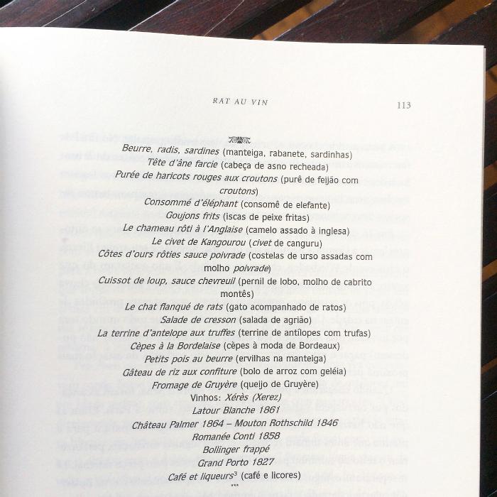 Menu do restaurante Voisin (reprodução do livro Escoffier - O Rei dos Chefs)